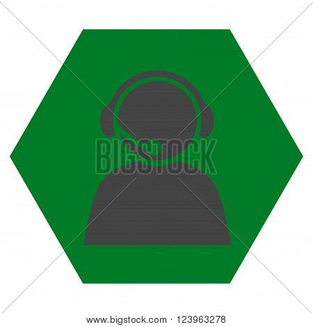 Call Center Operator vector symbol. Image style is bicolor flat call center operator pictogram symbol drawn on a hexagon with green and gray colors.
