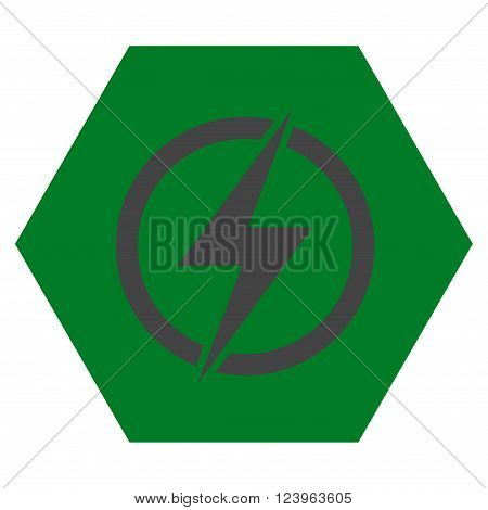 Electricity vector icon symbol. Image style is bicolor flat electricity pictogram symbol drawn on a hexagon with green and gray colors.