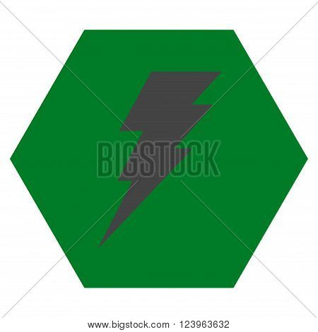 Execute vector symbol. Image style is bicolor flat execute iconic symbol drawn on a hexagon with green and gray colors.