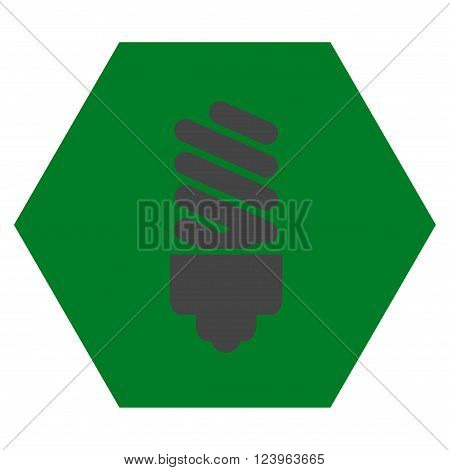 Fluorescent Bulb vector pictogram. Image style is bicolor flat fluorescent bulb icon symbol drawn on a hexagon with green and gray colors.