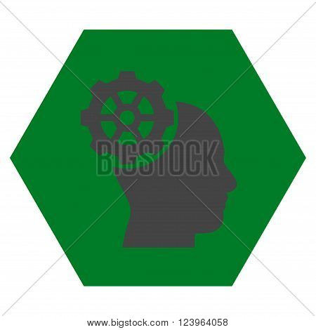 Head Gear vector symbol. Image style is bicolor flat head gear icon symbol drawn on a hexagon with green and gray colors.