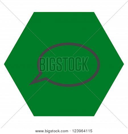 Hint Cloud vector icon symbol. Image style is bicolor flat hint cloud pictogram symbol drawn on a hexagon with green and gray colors.
