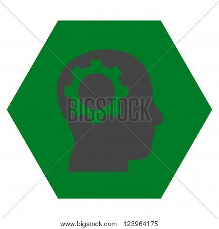Intellect Gear vector icon symbol. Image style is bicolor flat intellect gear iconic symbol drawn on a hexagon with green and gray colors.