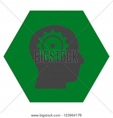 Intellect vector symbol. Image style is bicolor flat intellect iconic symbol drawn on a hexagon with green and gray colors.
