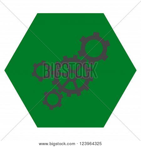 Mechanism vector symbol. Image style is bicolor flat mechanism pictogram symbol drawn on a hexagon with green and gray colors.