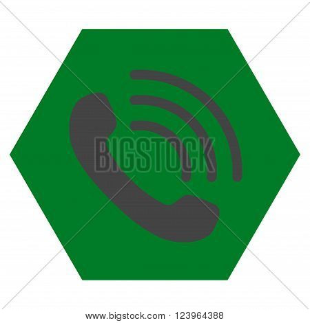 Phone Call vector symbol. Image style is bicolor flat phone call icon symbol drawn on a hexagon with green and gray colors.
