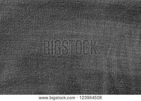 Fabric Texture Close Up Black Denim Jean Texture Pattern Background.