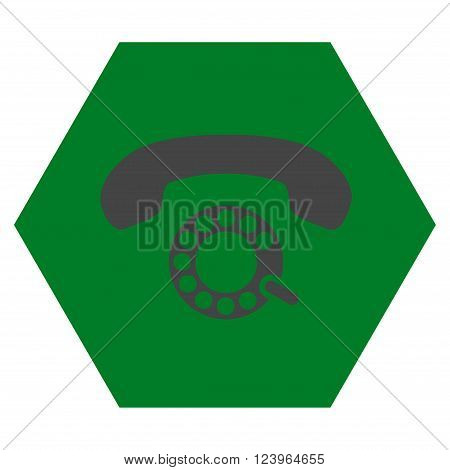 Pulse Dialing vector symbol. Image style is bicolor flat pulse dialing icon symbol drawn on a hexagon with green and gray colors.
