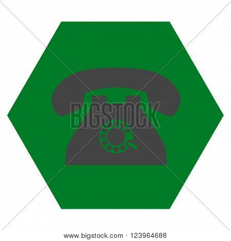 Pulse Phone vector symbol. Image style is bicolor flat pulse phone pictogram symbol drawn on a hexagon with green and gray colors.