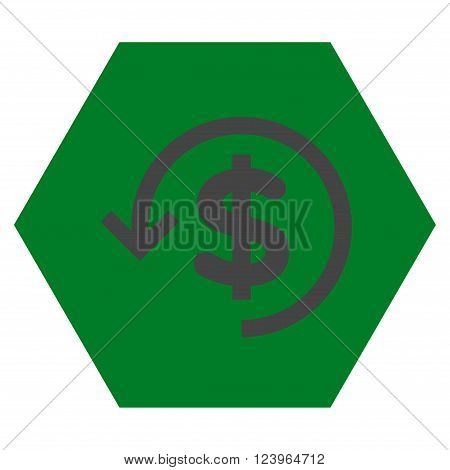 Refund vector icon. Image style is bicolor flat refund icon symbol drawn on a hexagon with green and gray colors.