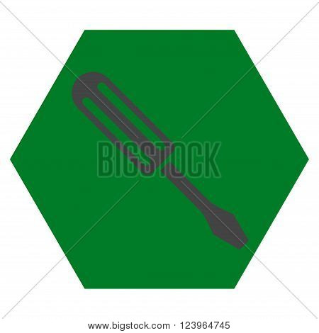 Screwdriver vector pictogram. Image style is bicolor flat screwdriver icon symbol drawn on a hexagon with green and gray colors.