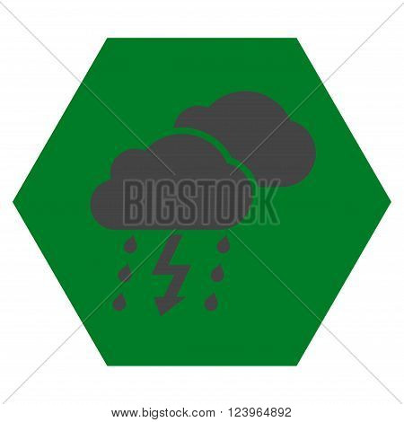Thunderstorm vector symbol. Image style is bicolor flat thunderstorm pictogram symbol drawn on a hexagon with green and gray colors.