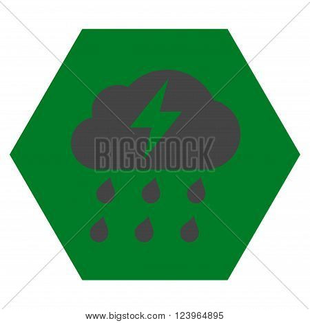 Thunderstorm vector icon symbol. Image style is bicolor flat thunderstorm icon symbol drawn on a hexagon with green and gray colors.