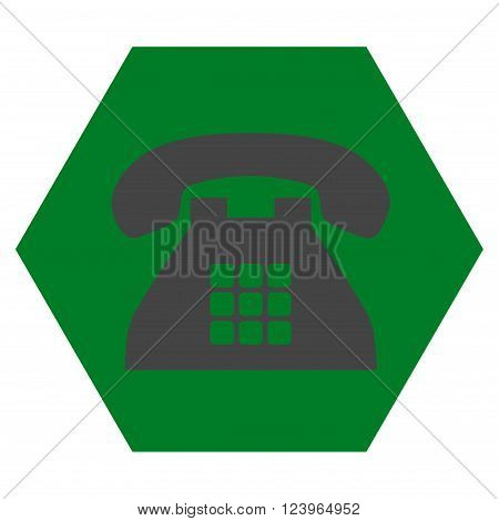 Tone Phone vector icon. Image style is bicolor flat tone phone icon symbol drawn on a hexagon with green and gray colors.
