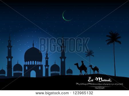 Illustration of Eid mubarak with camel walks through and mosque in desert on night day