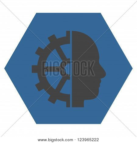 Cyborg Gear vector icon symbol. Image style is bicolor flat cyborg gear icon symbol drawn on a hexagon with cobalt and gray colors.