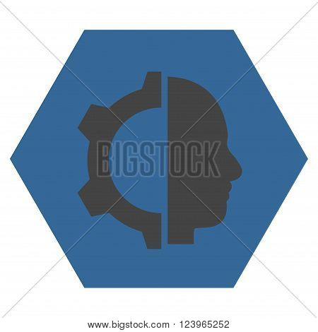 Cyborg Gear vector pictogram. Image style is bicolor flat cyborg gear iconic symbol drawn on a hexagon with cobalt and gray colors.