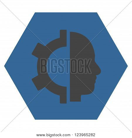 Cyborg Gear vector icon. Image style is bicolor flat cyborg gear icon symbol drawn on a hexagon with cobalt and gray colors.
