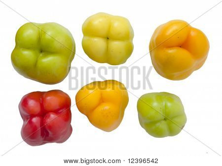 group of red green and yellow bellpeppers