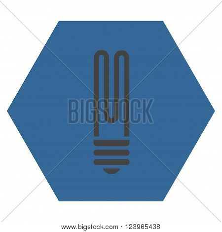 Fluorescent Bulb vector icon symbol. Image style is bicolor flat fluorescent bulb iconic symbol drawn on a hexagon with cobalt and gray colors.