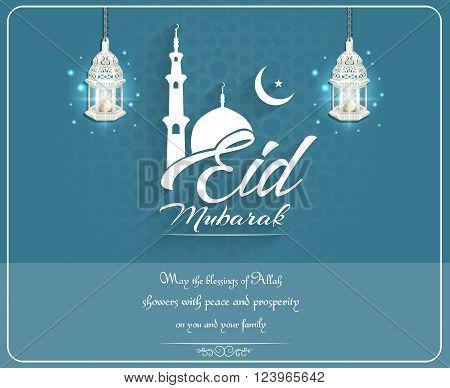 Illustration of Eid mubarak background with mosque and lanterns on blue background