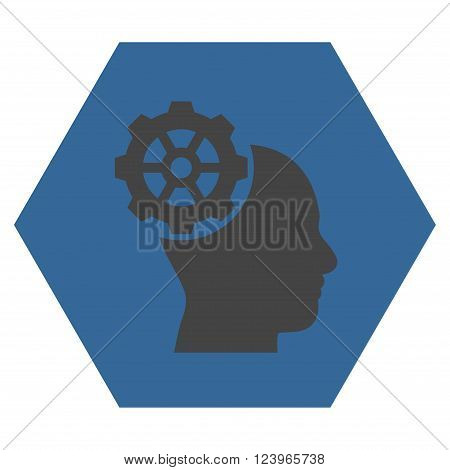 Head Gear vector symbol. Image style is bicolor flat head gear icon symbol drawn on a hexagon with cobalt and gray colors.