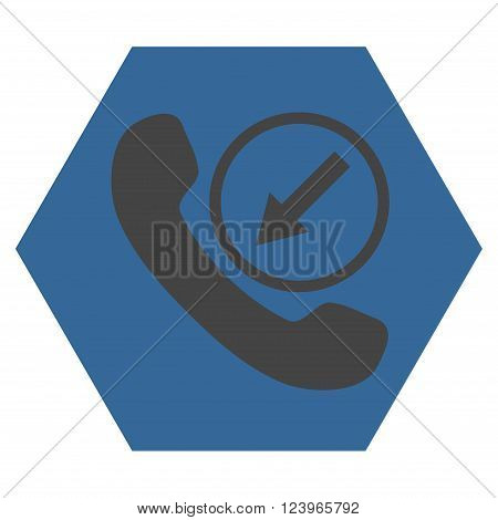 Incoming Call vector icon symbol. Image style is bicolor flat incoming call iconic symbol drawn on a hexagon with cobalt and gray colors.