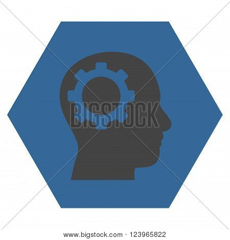 Intellect Gear vector icon symbol. Image style is bicolor flat intellect gear icon symbol drawn on a hexagon with cobalt and gray colors.