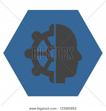 Intellect vector pictogram. Image style is bicolor flat intellect iconic symbol drawn on a hexagon with cobalt and gray colors.