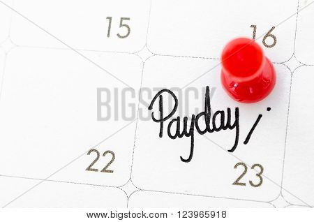 pay day of the month on calendary page.