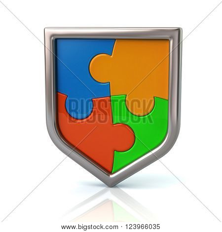 Puzzle Shield With Colorful Pieces
