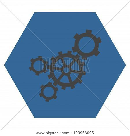 Mechanism vector pictogram. Image style is bicolor flat mechanism pictogram symbol drawn on a hexagon with cobalt and gray colors.