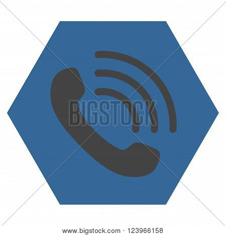 Phone Call vector symbol. Image style is bicolor flat phone call icon symbol drawn on a hexagon with cobalt and gray colors.