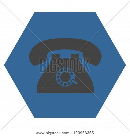 Pulse Phone vector pictogram. Image style is bicolor flat pulse phone icon symbol drawn on a hexagon with cobalt and gray colors.