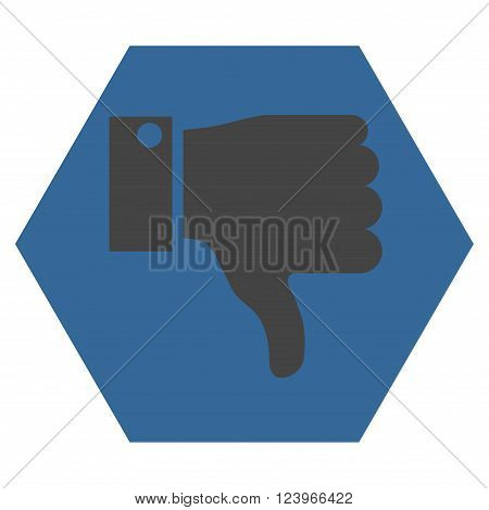 Thumb Down vector icon symbol. Image style is bicolor flat thumb down iconic symbol drawn on a hexagon with cobalt and gray colors.