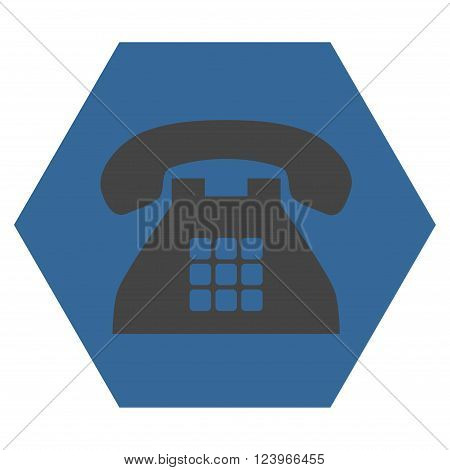 Tone Phone vector icon symbol. Image style is bicolor flat tone phone icon symbol drawn on a hexagon with cobalt and gray colors.