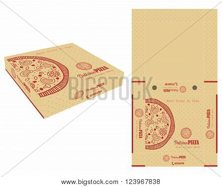 Dotted Pattern and Single Color Pizza Box