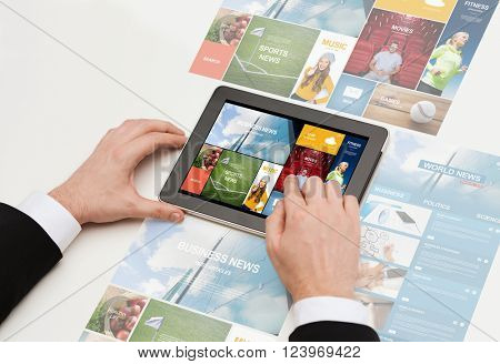 business, internet, people and technology concept - close up of man hands working with web pages on tablet pc computer screen