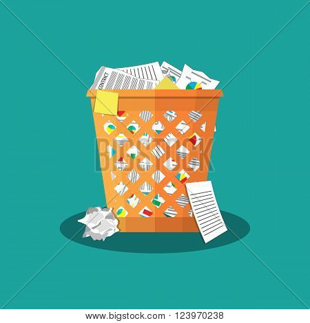 Trash Recycle Bin Garbage Flat Vector Illustration