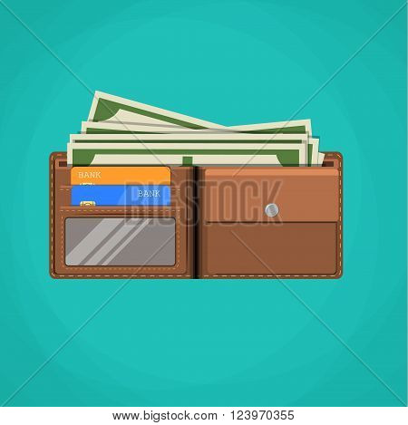 Flat wallet card and cash. Leather wallet with dollars, credit cards.  Brown wallet. Full wallet. Wallet filled up with money and plastic cards. vector illustration in flat design