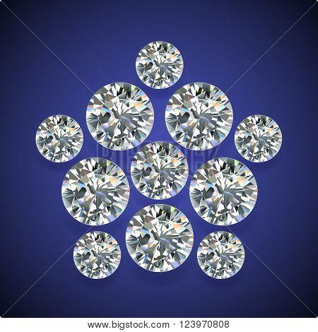 Diamond pentagon brooch isolated on dark-blue background vector illustration