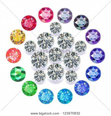 Diamond pentagon brooch encased in a round frame of precious stones isolated on white background vector illustration