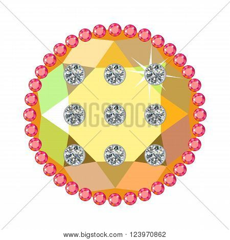 Golden button with rubies and diamonds isolated on white background vector illustration