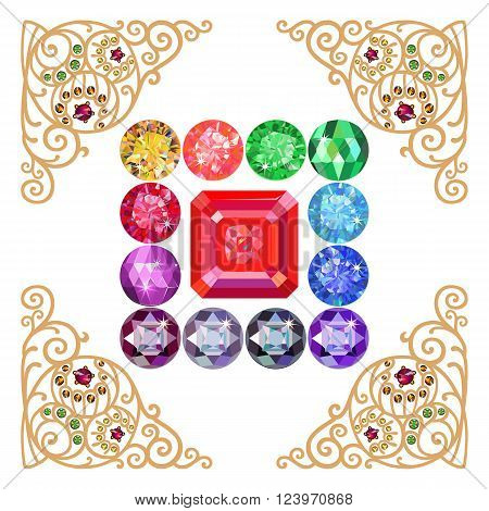 Asscher cut ruby encased in a squared frame of precious stones isolated on white background vector illustration