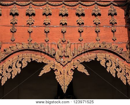 Wooden Decoration Gable of Thai Northern Style Temple, Wat Hua Khuang - Nan, Thailand