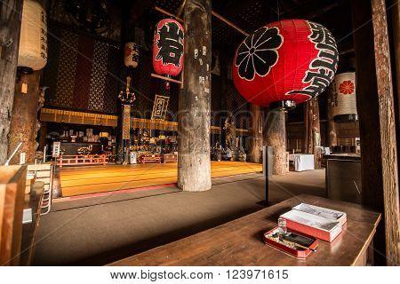 NARA, JAPAN - APRIL 13: Interior of Japanese Zen Temple on April 13, 2014 in Yoshino Mountain.