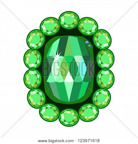 Emerald brooch isolated on white background vector illustration