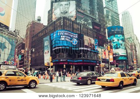 Time Square With Yellow Taxi, New York, Usa
