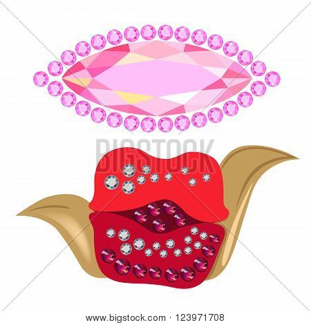 Coquette gemstones kiss shape brooch isolated on white background vector illustration