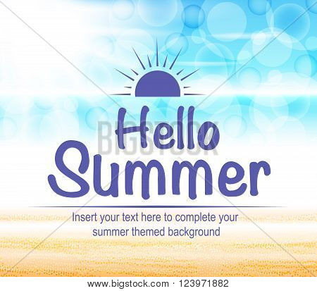 Hello Summer Text with Beautiful and Colorful Seascape Abstract Background in Vector Illustration